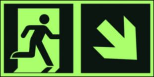 Kierunek do wyjścia ewakuacyjnego - w dół w prawo