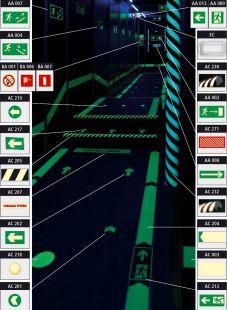 Kierunek drogi ewakuacyjnej - znacznik podłogowy do konstrukcji ażurowych
