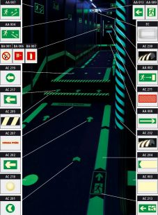 Kierunek drogi ewakuacyjnej - znacznik podłogowy do konstrukcji ażurowych - znak ewakuacyjny - AC217