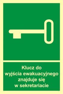 Klucz do wyjścia ewak. znajduje się w sekretariacie