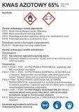 Kwas azotowy 65% - etykieta chemiczna, oznakowanie opakowania - LC004 - Substancje chemiczne – oznakowanie