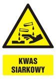Kwas siarkowy - znak bhp ostrzegający, informujący - GF011 - Ostrzegawcze znaki BHP a zagrożenia w miejscu pracy