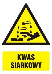 Kwas siarkowy - znak bhp ostrzegający, informujący - GF011