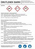 LC012 - Dwutlenek siarki - etykieta, oznakowanie opakowania - Substancje chemiczne – oznakowanie