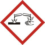 LF005 - Produkt żrący - znak piktogram GHS 05 CLP - Norma GHS (Globally Harmonized System), rozporządzenie CLP