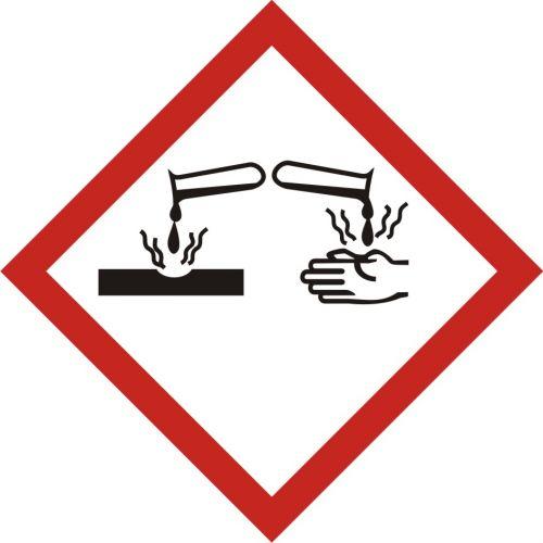 LF005 - Produkt żrący - znak piktogram GHS 05 CLP - Substancje chemiczne – oznakowanie