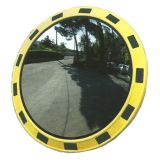 Lustro przemysłowe magazynowe - okrągłe, akrylowe, z ramą ostrzegawczą - Zastosowanie urządzeń bezpieczeństwa ruchu drogowego
