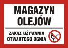 Magazyn olejów - zakaz używania otwartego ognia - znak informacyjny - PB171