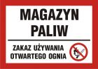Magazyn paliw - zakaz używania otwartego ognia - znak informacyjny - PB170