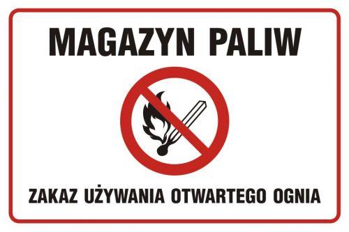 Magazyn paliw. Zakaz używania otwartego ognia - znak zakazujący, informujący - NC009 - Sposoby składowania materiałów w magazynie