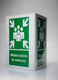 Miejsce zbiórki do ewakuacji 3D - 25x31 cm - znak ewakuacyjny, przestrzenny 3D
