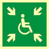 Miejsce zbiórki do ewakuacji dla osób niepełnosprawnych - znak ewakuacyjny - AAE024 - Ewakuacyjne znaki bezpieczeństwa – PN-EN ISO 7010