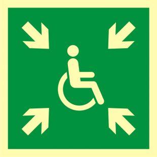 Miejsce zbiórki do ewakuacji dla osób niepełnosprawnych - znak ewakuacyjny - AAE024