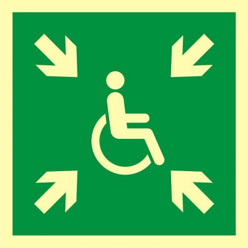 Miejsce zbiórki do ewakuacji dla osób niepełnosprawnych - znak ewakuacyjny - AAE024 - Norma PN-EN ISO 7010:2012