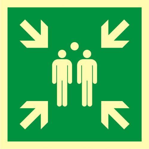 Miejsce zbiórki do ewakuacji - znak ewakuacyjny - AAE007 - Normy dotyczące znaków bezpieczeństwa