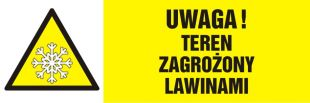 NA021 - Uwaga! Teren zagrożony lawinami - znak ostrzegający, informujący