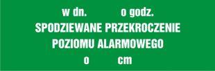 NA161 - W dniu  o godz. ... spodziewane przekroczenie poziomu alarmowego o ..... cm - znak informujący