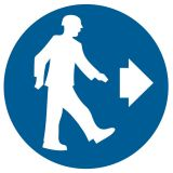 Nakaz kierunku przejścia - znak bhp nakazujący - GK007 - Instruktaż ogólny BHP – ramowy program szkolenia