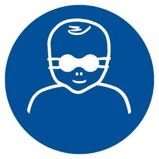 Nakaz ochrony wzroku dzieci przyciemnianymi okularami ochronnymi - znak bhp nakazujący - GJM025