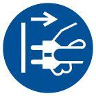 Nakaz odłączenia urządzenia od sieci elektrycznej - znak bhp nakazujący - GJM006