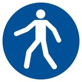 Nakaz przechodzenia w oznakowanym miejscu - znak bhp nakazujący - GJM024 - Plac budowy – znaki i tablice