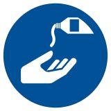 Nakaz stosowania kremu ochronnego - znak bhp nakazujący - GJM022 - Znaki BHP w miejscu pracy (norma PN-93/N-01256/03)