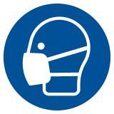 Nakaz stosowania maski przeciwpyłowej - znak bhp nakazujący - GJM016 - Środki ochrony indywidualnej i zbiorowej BHP: przykłady, definicje, podział i przydatne oznaczenia