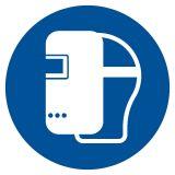 Nakaz stosowania maski spawalniczej - znak bhp nakazujący - GJM019 - Środki ochrony indywidualnej i zbiorowej BHP: przykłady, definicje, podział i przydatne oznaczenia
