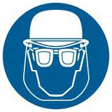 Nakaz stosowania ochrony głowy i twarzy - znak bhp nakazujący - GK003 - Materiały wybuchowe – piktogramy CLP