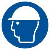 Nakaz stosowania ochrony głowy - znak bhp nakazujący - GJM014 - Środki ochrony indywidualnej i zbiorowej BHP: przykłady, definicje, podział i przydatne oznaczenia