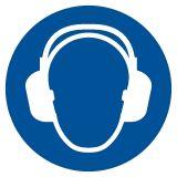 Nakaz stosowania ochrony słuchu - znak bhp nakazujący - GJM003 - Znaki BHP w miejscu pracy (norma PN-93/N-01256/03)