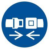Nakaz stosowania pasów bezpieczeństwa - znak bhp nakazujący - GJM020 - Prace na rusztowaniach powyżej 2 metrów