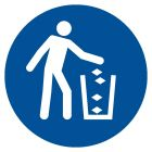 Nakaz używania kosza na śmieci - znak bhp nakazujący - GJM030