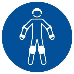 Nakaz używania ochraniaczy sportowych - znak bhp nakazujący - GJM049