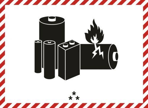 Naklejka ADR - Oznaczenie akumulatora dla ogniw lub akumulatorów litowo-jonowych albo z litem metalicznym - MA001a - Znak dla akumulatora litowego