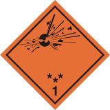 Naklejka ADR podklasa nr 1.1, 1.2, 1.3 - Substancje, materiały i przedmioty wybuchowe. Klasa 1 - MB101 - Znaki na pojemnikach i rurach – minimalne wymagania
