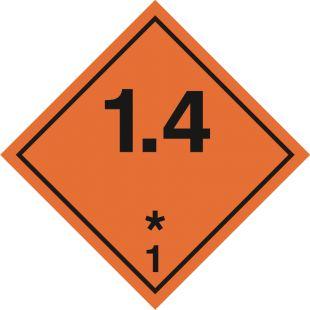 Naklejka ADR podklasa nr 1.4 - Substancje, materiały i przedmioty wybuchowe. Klasa 1 - MB102