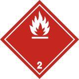 Naklejka ADR podklasa nr 2.1 - Gazy palne. Klasa 2 - MB106 - Znaki na pojemnikach i rurach – minimalne wymagania