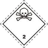 Naklejka ADR podklasa nr 2.3 - Gazy trujące. Klasa 2 - MB109 - Przepisy dot. składowania i stosowania materiałów niebezpiecznych