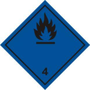 Naklejka ADR podklasa nr 4.3 - Materiały wytwarzające w zetknięciu z wodą gazy palne. Klasa 4 - MB114