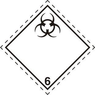 Naklejka ADR podklasa nr 6.2 - Materiały zakaźne. Klasa 6 - MB119