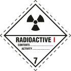 Naklejka ADR podklasa nr 7, kategoria I - Materiały promieniotwórcze. Klasa 7 - MB121