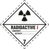 Naklejka ADR podklasa nr 7, kategoria I - Materiały promieniotwórcze. Klasa 7 - MB121 - Materiały promieniotwórcze – oznakowanie transportu ADR