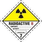Naklejka ADR podklasa nr 7, kategoria II - Materiały promieniotwórcze. Klasa 7