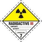 Naklejka ADR podklasa nr 7, kategoria III - Materiały promieniotwórcze. Klasa 7