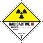Naklejka ADR podklasa nr 7, kategoria III - Materiały promieniotwórcze. Klasa 7 - MB123