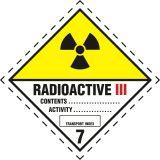 Naklejka ADR podklasa nr 7, kategoria III - Materiały promieniotwórcze. Klasa 7 - MB123 - Materiały promieniotwórcze – oznakowanie transportu ADR