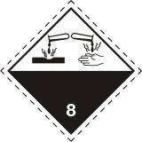 Naklejka ADR podklasa nr 8 - Materiały żrące. Klasa 8 - MB125 - Środki gaśnicze w transporcie ADR