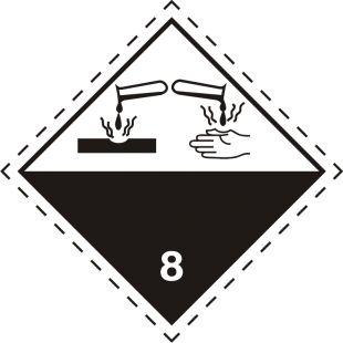 Naklejka ADR podklasa nr 8 - Materiały żrące. Klasa 8 - MB125