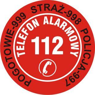 Nalepka na telefon - pogotowie 999, straż 998, policja 997, telefon alarmowy 112 - DA004